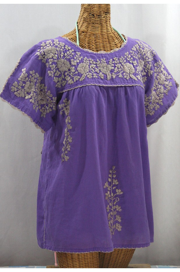 """La Primavera"" Hand Embroidered Mexican Blouse - Purple + Cocoa"