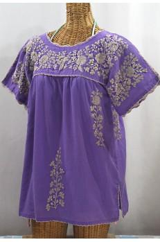 """""""La Primavera"""" Hand Embroidered Mexican Blouse - Purple + Cocoa"""