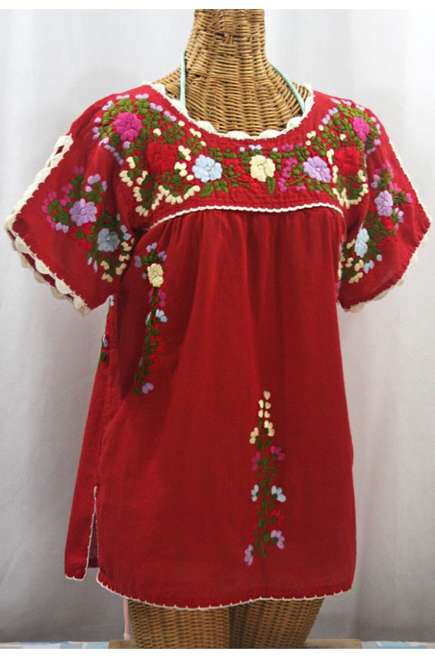"""La Primavera"" Hand Embroidered Mexican Blouse - Red + Multi"