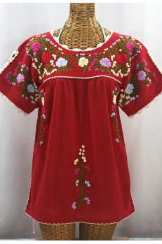 """""""La Primavera"""" Hand Embroidered Mexican Blouse - Red + Multi"""