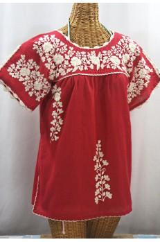 """""""La Primavera"""" Hand Embroidered Mexican Blouse - Tomato + Cream"""