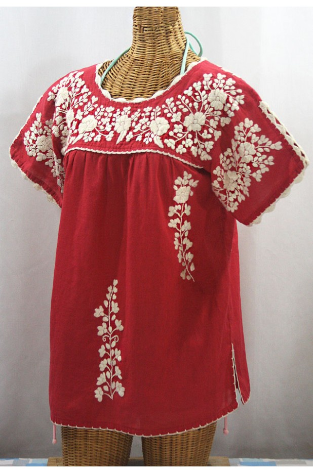 """La Primavera"" Hand Embroidered Mexican Blouse - Tomato + Cream"