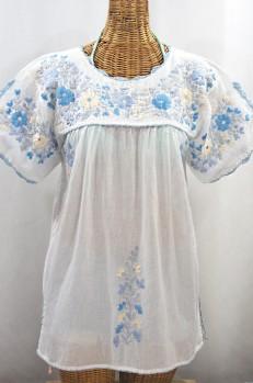 """""""La Primavera"""" Hand Embroidered Mexican Blouse - White + Blue Mix"""