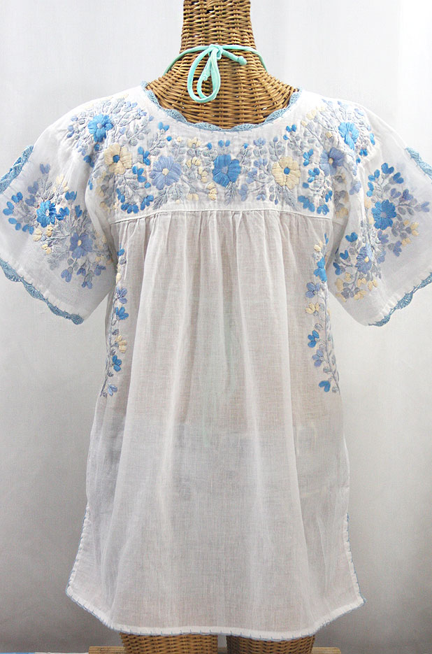 """La Primavera"" Hand Embroidered Mexican Blouse - White + Blue Mix"