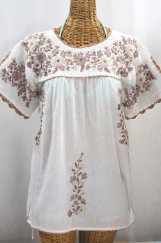 """""""La Primavera"""" Hand Embroidered Mexican Blouse - White + Cocoa Mix"""