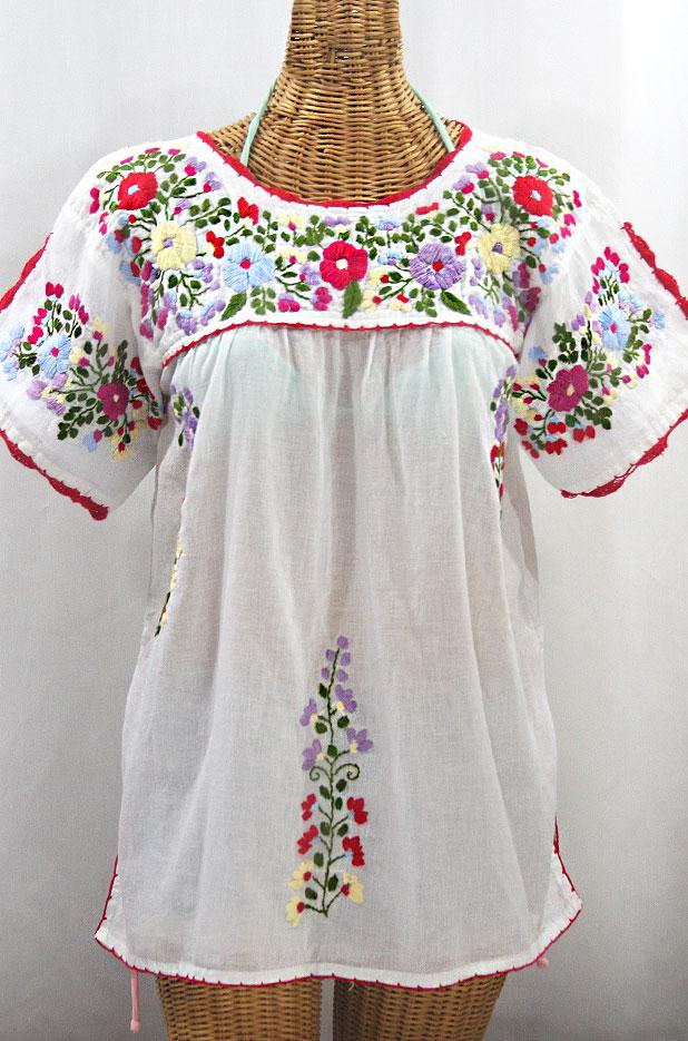 """""""La Primavera"""" Hand Embroidered Mexican Blouse - White + Multi"""