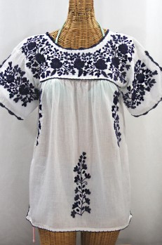 """La Primavera"" Hand Embroidered Mexican Blouse - White + Navy"