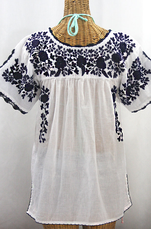 """La Primavera"" Hand Embroidered Mexican Blouse - White + Navy"