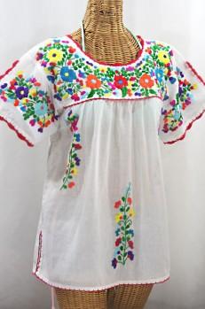 """""""La Primavera"""" Hand Embroidered Mexican Blouse - White + Rainbow"""