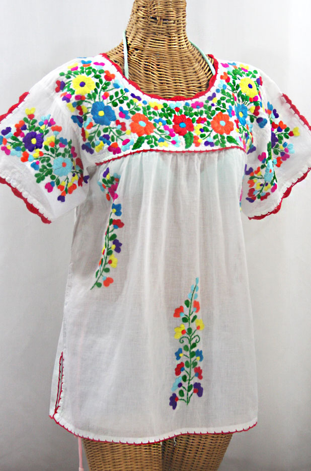 """La Primavera"" Hand Embroidered Mexican Blouse - White + Rainbow"