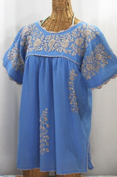 """""""La Primavera"""" Hand Embroidered Mexican Blouse - Light Blue + Cocoa"""
