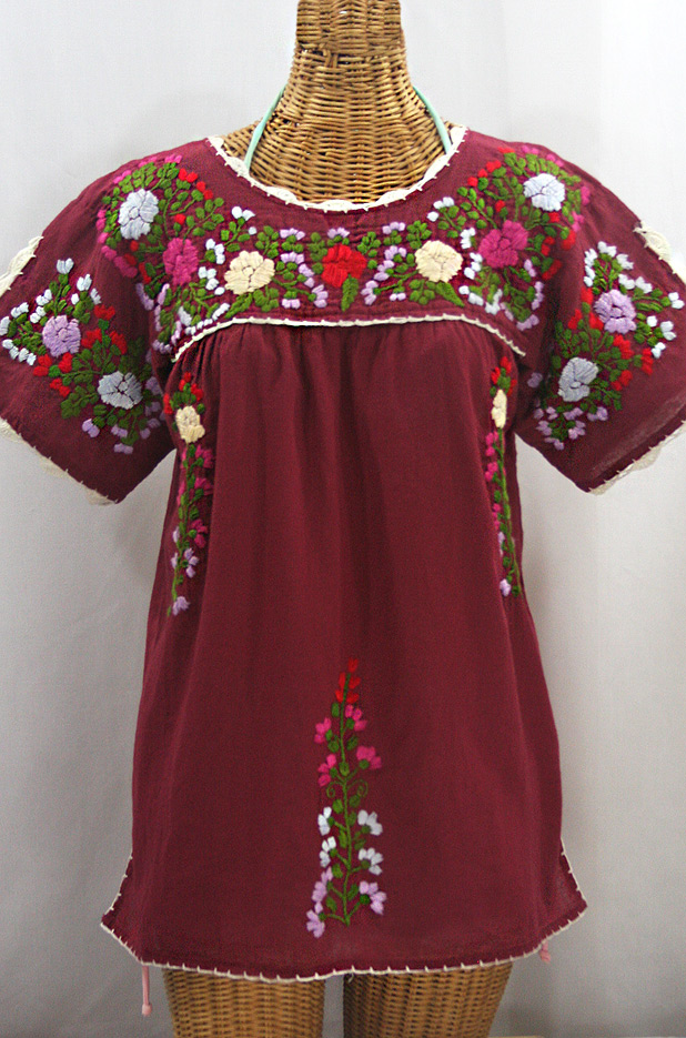 """""""La Primavera"""" Hand Embroidered Mexican Blouse - Burgundy + Multi"""