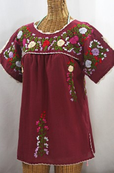 """La Primavera"" Hand Embroidered Mexican Blouse - Burgundy + Multi"
