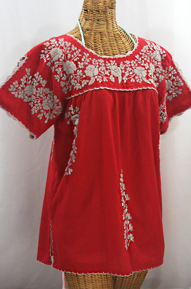 """La Primavera"" Hand Embroidered Mexican Blouse - Red + Cocoa"