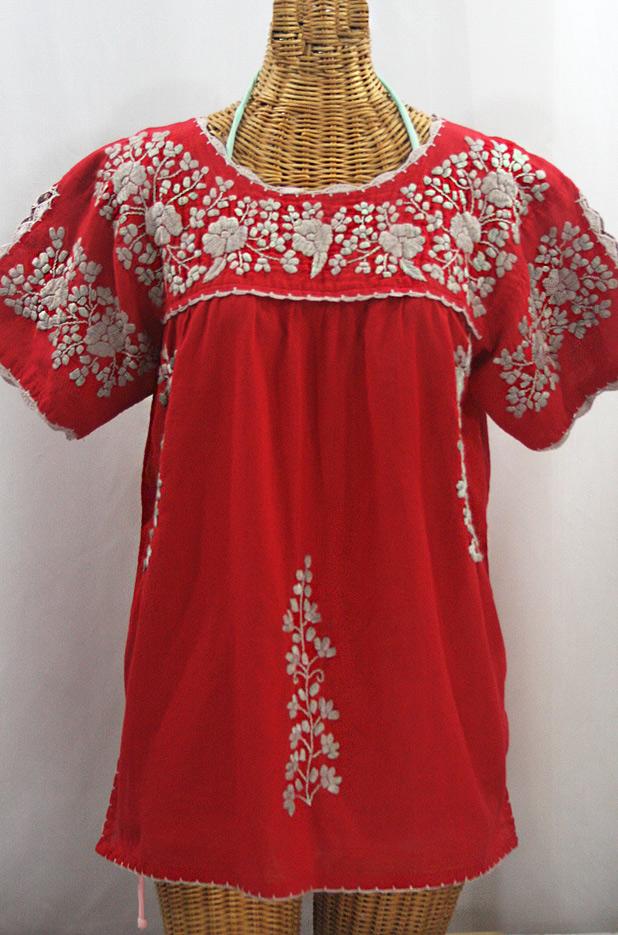 """""""La Primavera"""" Hand Embroidered Mexican Blouse - Red + Cocoa"""