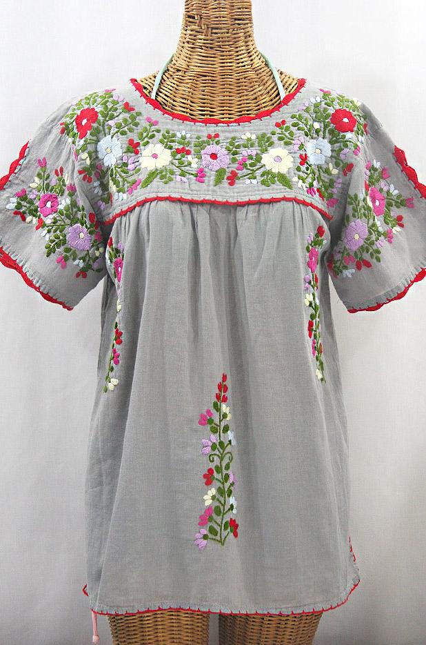 """""""La Primavera"""" Hand Embroidered Mexican Blouse - Grey + Multi"""