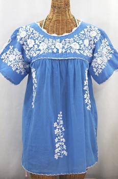 """""""La Primavera"""" Hand Embroidered Mexican Blouse - Light Blue + White"""
