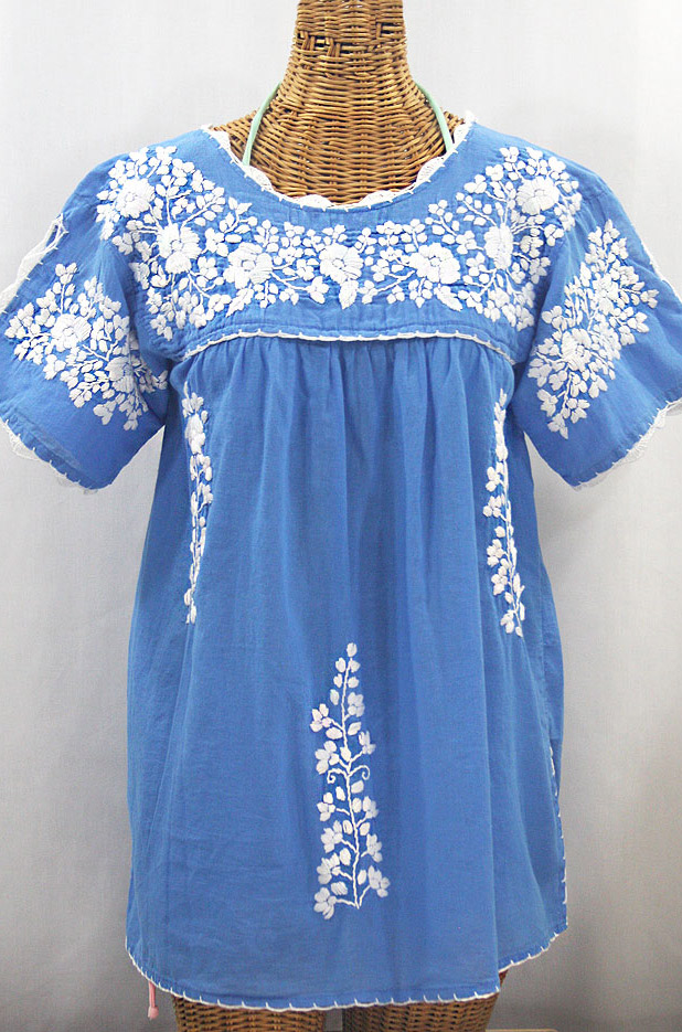 """La Primavera"" Hand Embroidered Mexican Blouse - Light Blue + White"