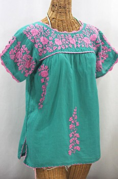 """La Primavera"" Hand Embroidered Mexican Blouse - Mint + Pink"