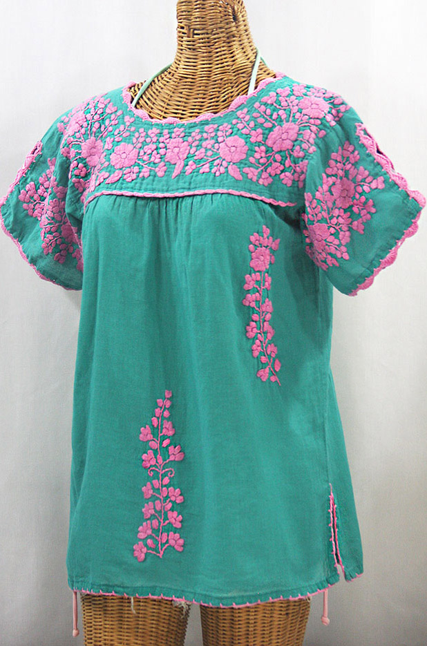 """""""La Primavera"""" Hand Embroidered Mexican Blouse - Mint + Pink"""