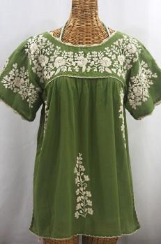 """""""La Primavera"""" Hand Embroidered Mexican Blouse - Fern Green + Cream"""