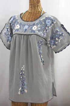 """La Primavera"" Hand Embroidered Mexican Blouse - Grey + Grey Mix"