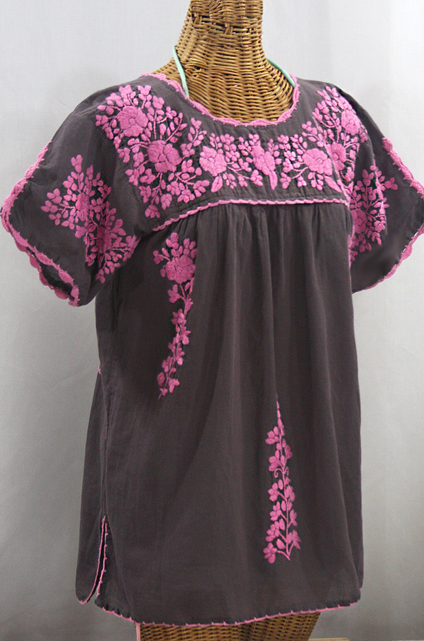 """La Primavera"" Hand Embroidered Mexican Blouse - Grey + Pink"