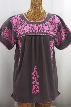 """La Primavera"" Hand Embroidered Mexican Blouse - Grey + Pink"