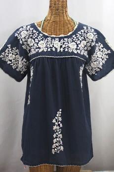 """""""La Primavera"""" Hand Embroidered Mexican Blouse - Navy Blue + Cream"""