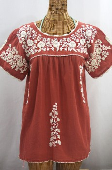 """""""La Primavera"""" Hand Embroidered Mexican Blouse - Terracotta + Cream"""