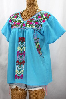 """La Saladita"" V-Neck Embroidered Mexican Style Peasant Top - Aqua + Multi"