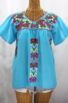 """""""La Saladita"""" V-Neck Embroidered Mexican Style Peasant Top - Aqua + Multi"""