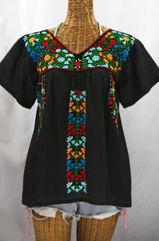 """La Saladita"" V-Neck Embroidered Mexican Style Peasant Top - Black + Fiesta"