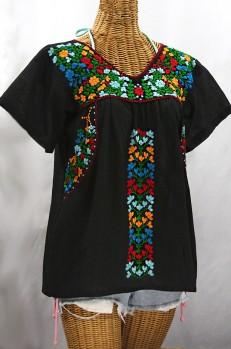 """La Saladita"" V-Neck Embroidered Mexican Style Peasant Top - Black + Fiesta"