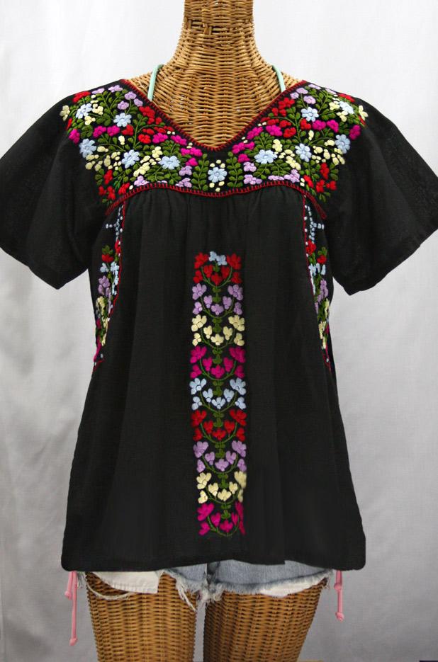 """""""La Saladita"""" V-Neck Embroidered Mexican Style Peasant Top - Black + Multi"""