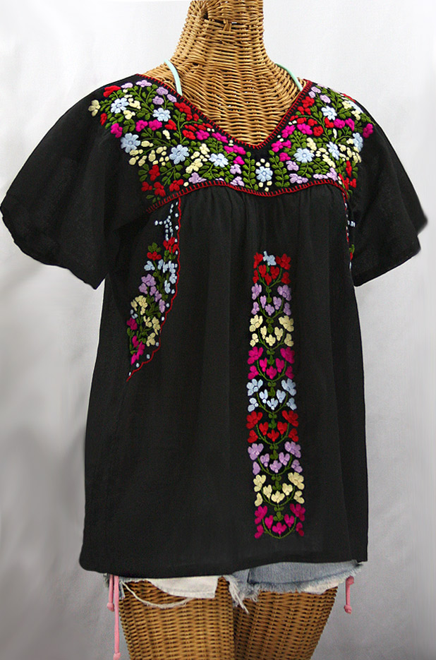 """La Saladita"" V-Neck Embroidered Mexican Style Peasant Top - Black + Multi"