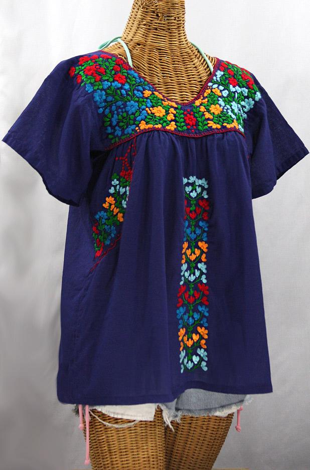 """La Saladita"" V-Neck Embroidered Mexican Style Peasant Top - Denim + Fiesta"