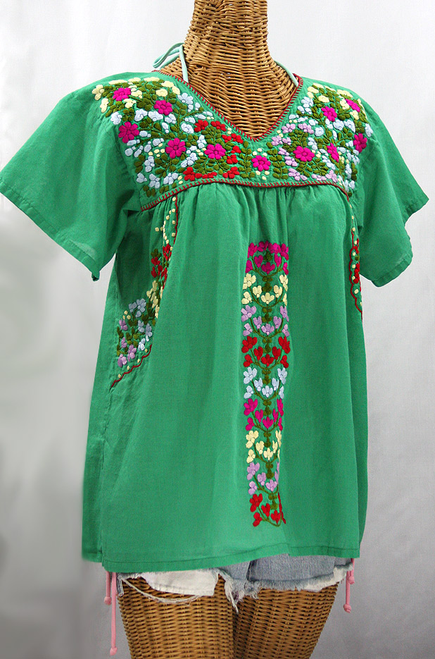 """La Saladita"" V-Neck Embroidered Mexican Style Peasant Top - Green + Multi"