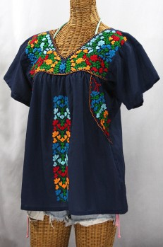 """La Saladita"" V-Neck Embroidered Mexican Style Peasant Top - Navy + Fiesta"