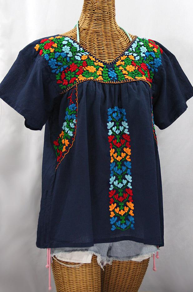 """La Saladita"" V-Neck Embroidered Mexican Style Peasant Top - Navy + Fiesta"