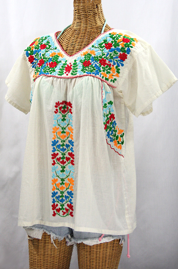 """La Saladita"" V-Neck Embroidered Mexican Style Peasant Top - Off White + Fiesta"