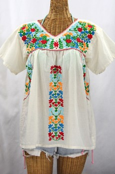 """La Saladita"" V-Neck Embroidered Mexican Style Peasant Top - Off White + Fiesta"
