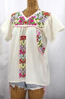 """""""La Saladita"""" V-Neck Embroidered Mexican Style Peasant Top - Off White + Multi"""