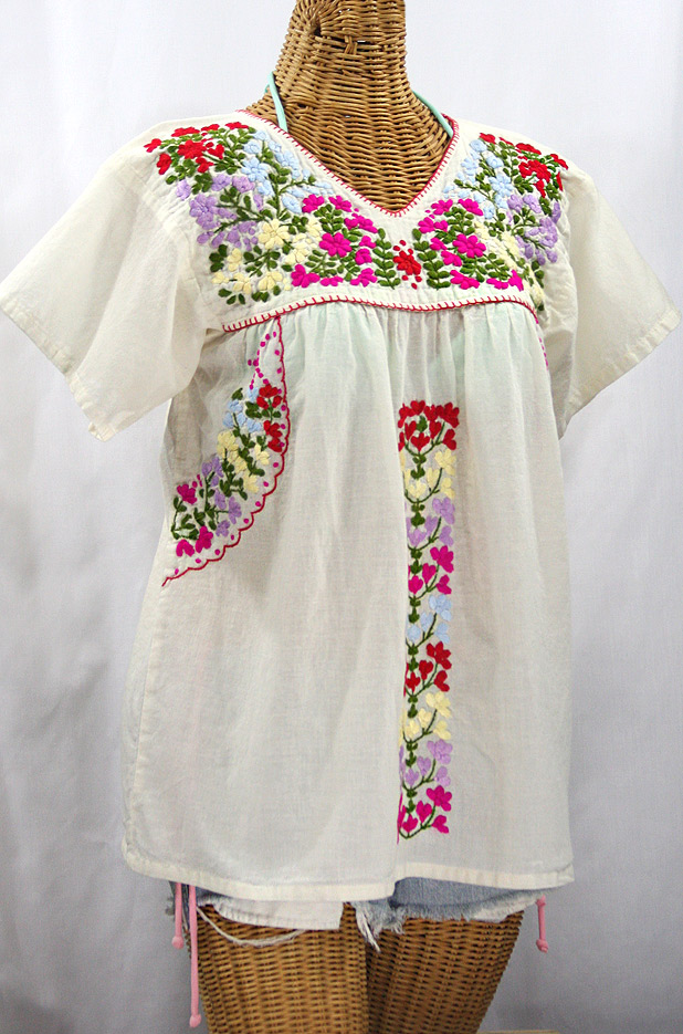 """La Saladita"" V-Neck Embroidered Mexican Style Peasant Top - Off White + Multi"