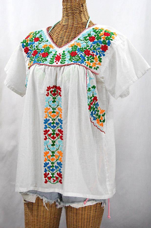 """""""La Saladita"""" V-Neck Embroidered Mexican Style Peasant Top - White + Fiesta"""