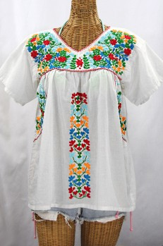 """La Saladita"" V-Neck Embroidered Mexican Style Peasant Top - White + Fiesta"