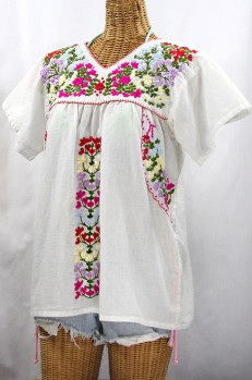 """La Saladita"" V-Neck Embroidered Mexican Style Peasant Top - White + Multi"