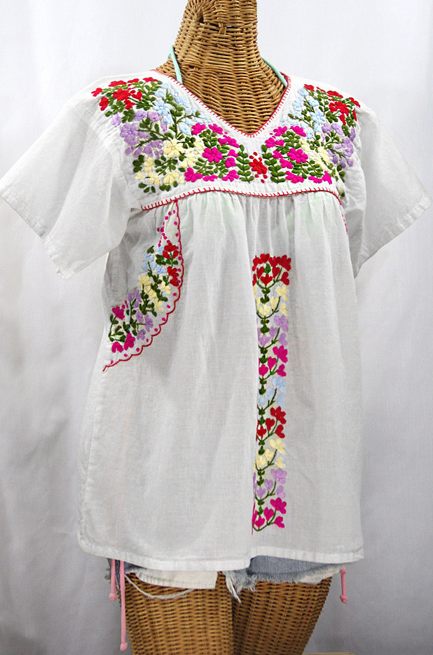 """""""La Saladita"""" V-Neck Embroidered Mexican Style Peasant Top - White + Multi"""