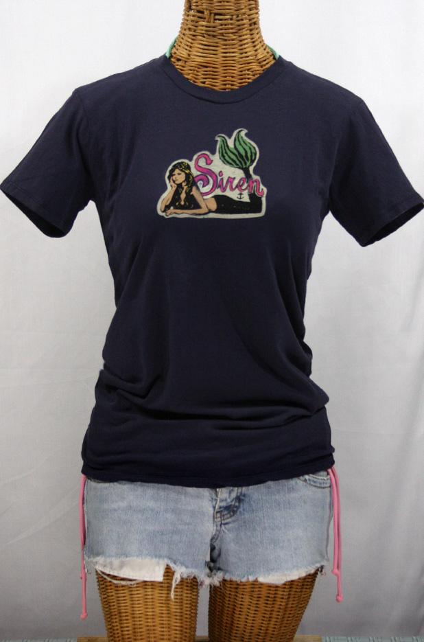 Siren Surf Mermaid Logo T-shirt: Midnight Blue