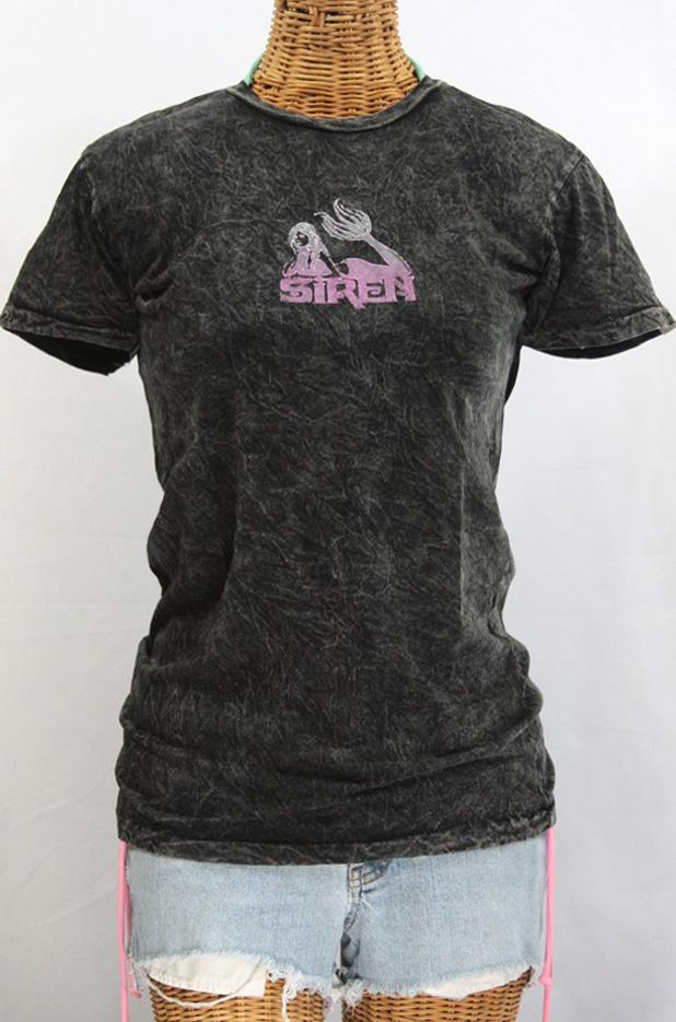 Siren Maiden Logo Block Print Acid Wash T-shirt: Asphalt